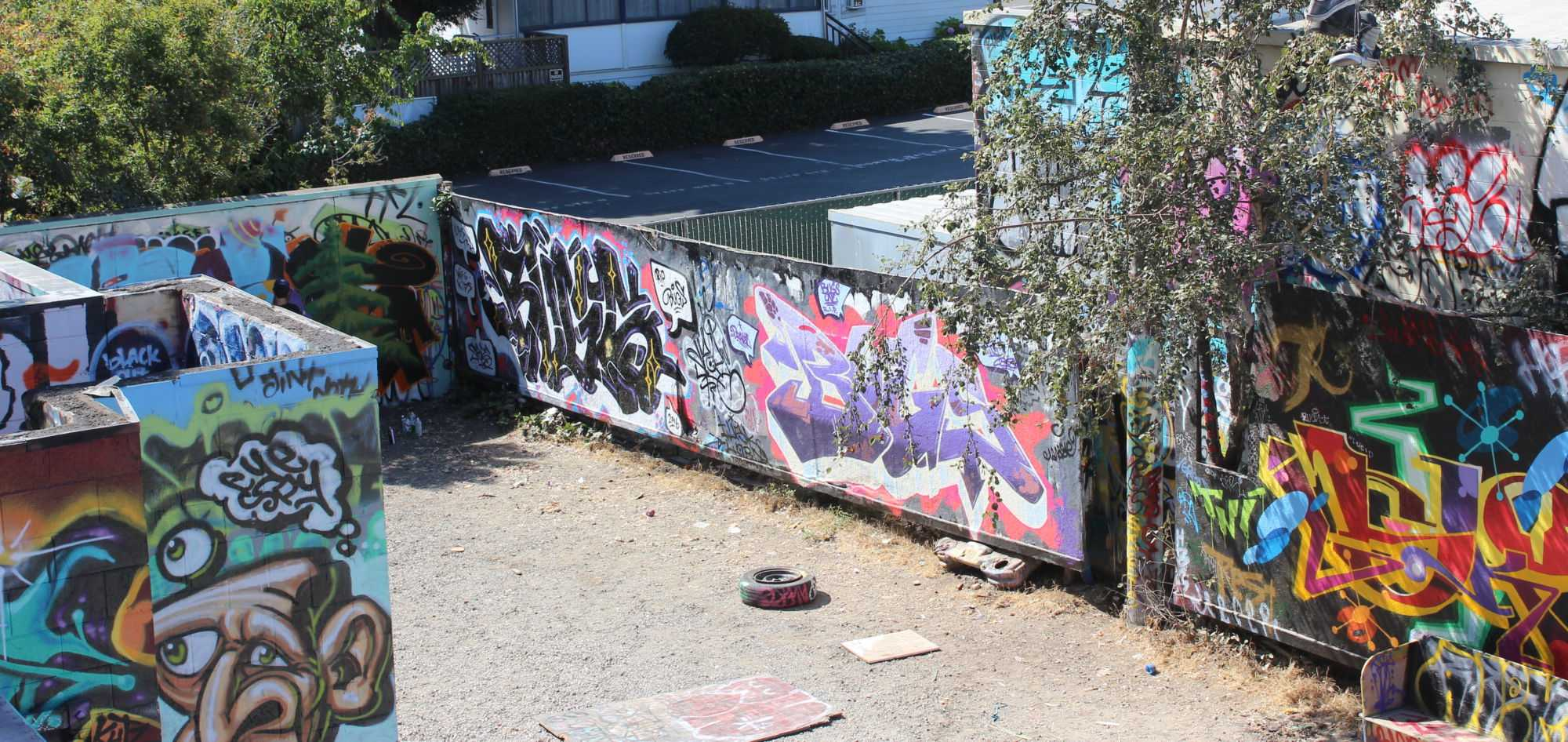 An elevated view of the legal graffiti wall where Addleman and Bettinger practice at the Phoenix Theater in Petaluma.