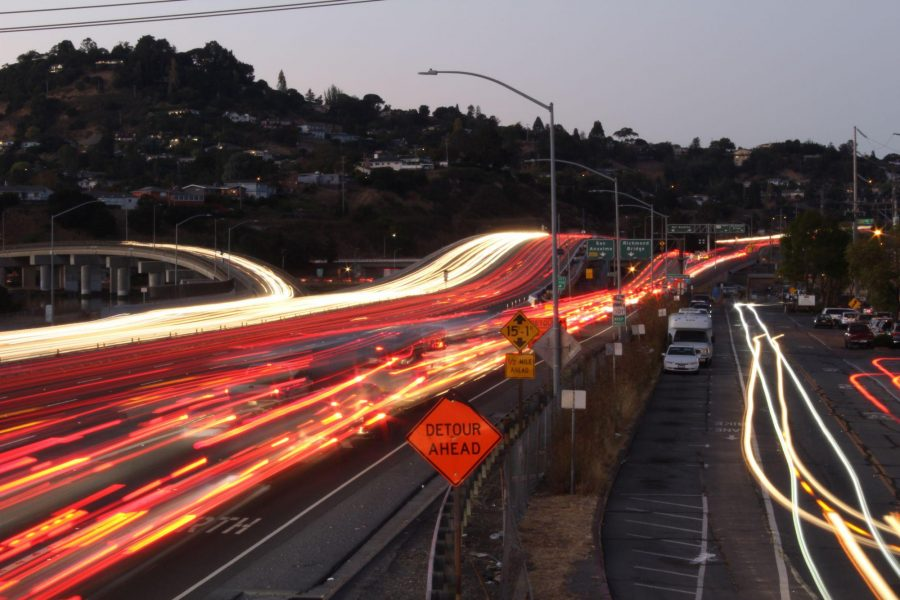 Usually heavy in the evening commute hours, traffic to the Richmond-San Rafael Bridge is gridlocked.