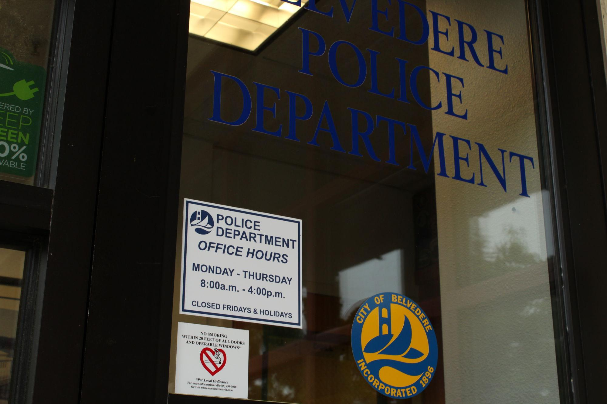 This 'No smoking within 20 feet of all doors and operable windows' sign on the front door of the Belvedere Police Department is very similar to those that will be going up near multifamily housing and public parks by October 10, 2017