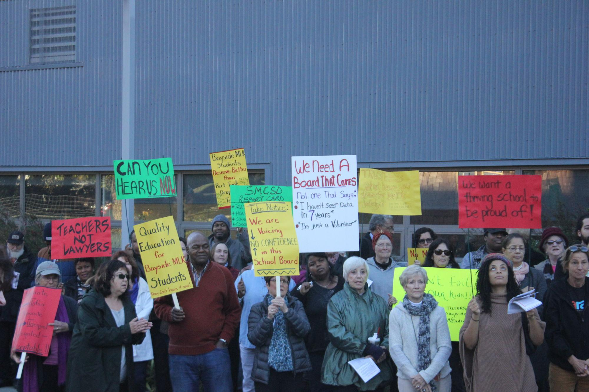 Community members protest learning conditions at Marin City school