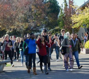 Protesters marched around campus chanting