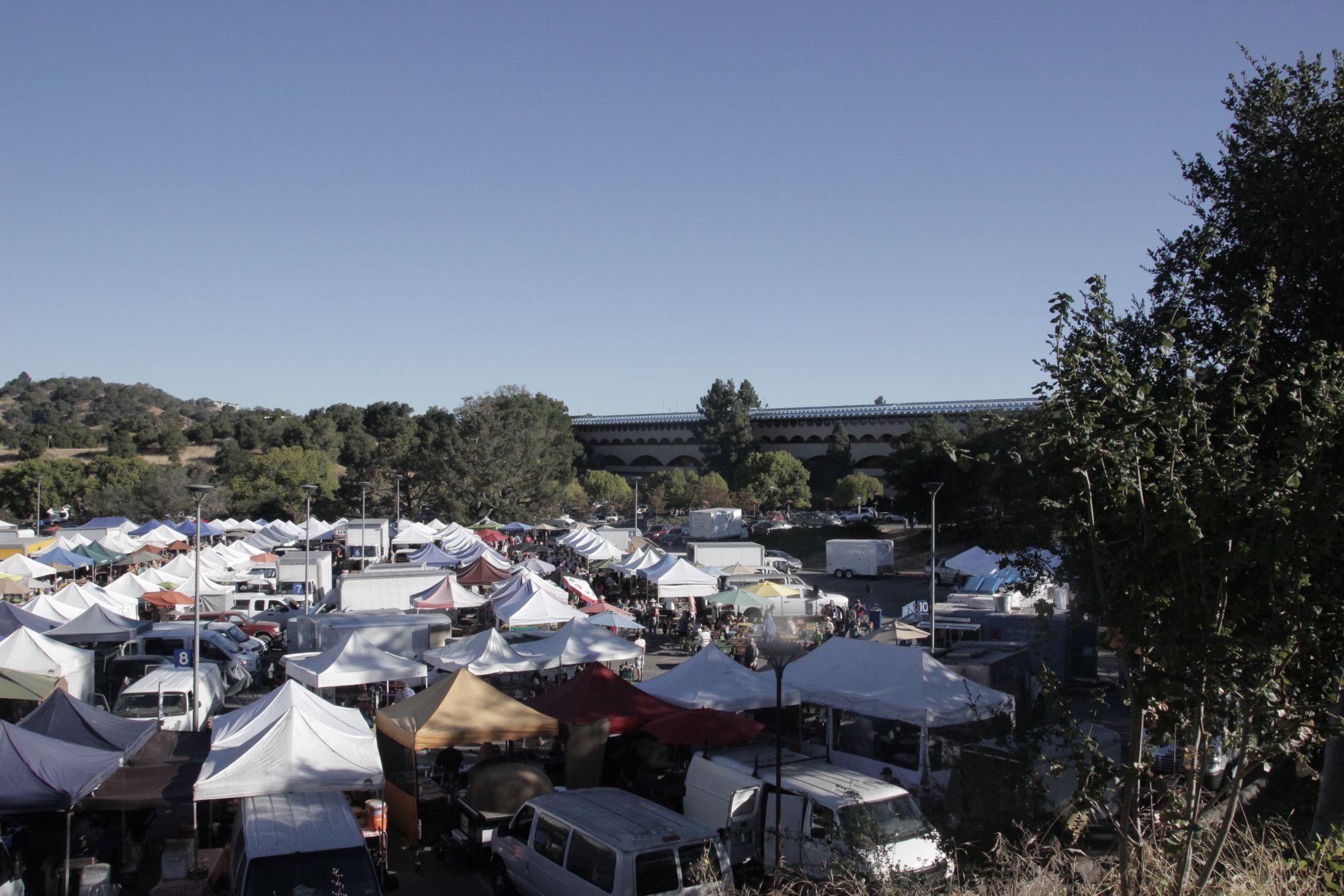 The San Rafael farmers market on a busy Sunday morning.