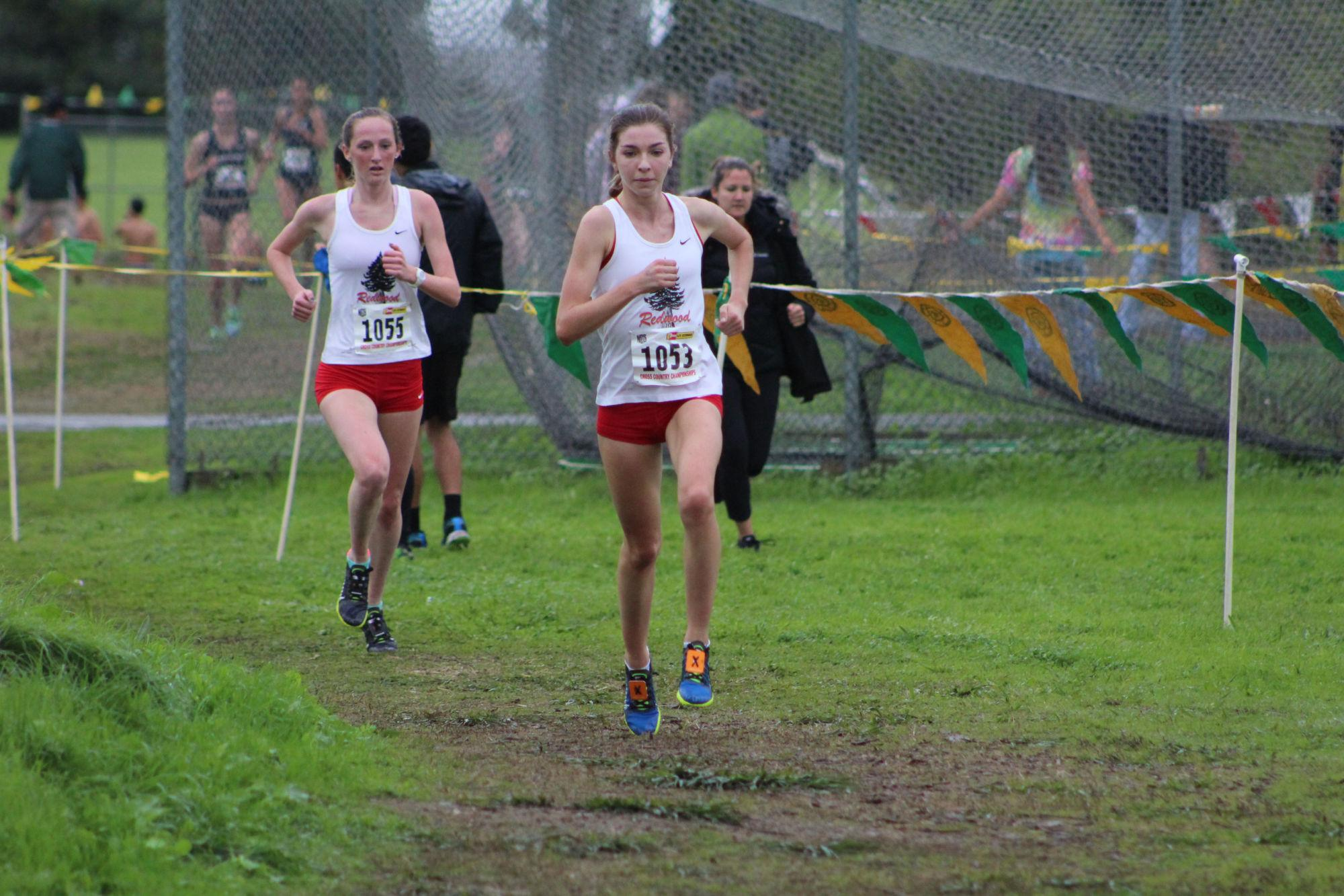 Senior Glennis Murphy and Junior Gillian Wagner break away from the pack of runners on their way to their first and second place finishes, respectively, at the NCS meet