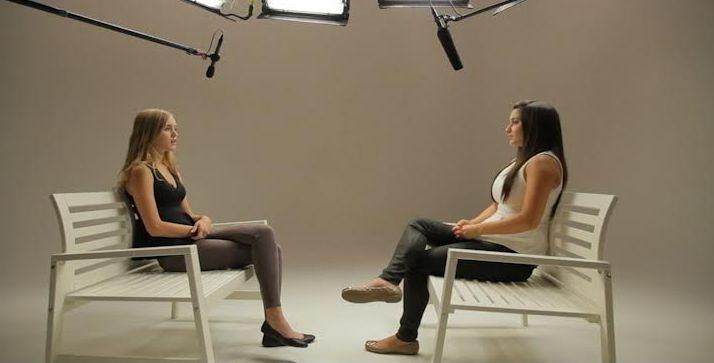 Monetta interviews a teen for the film