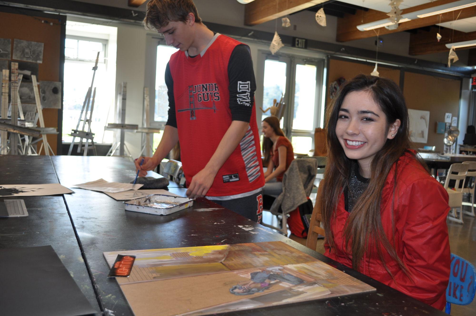 Junior Eileen Bettinger works on a project in AP Studio Art Class