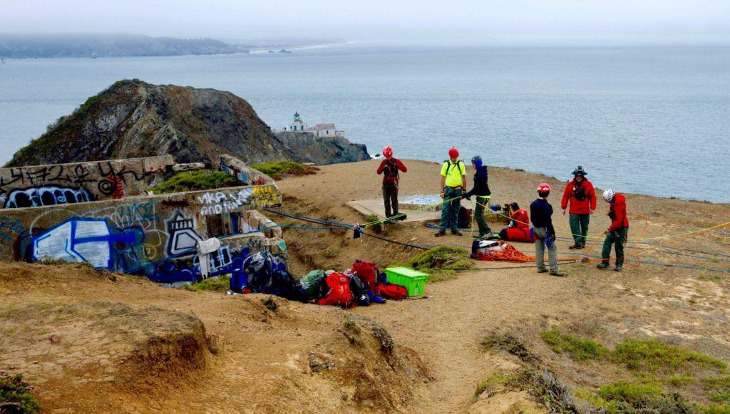 Various Search and Rescue members participate in advanced rigging training at the Marin Headlands.