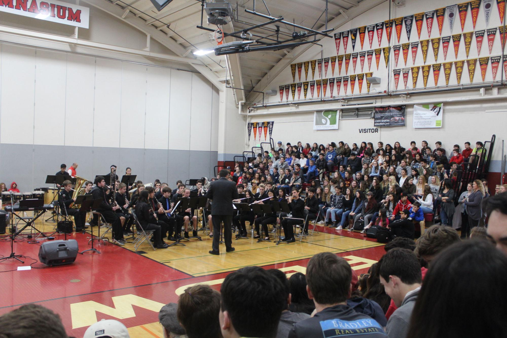 The+band+put+on+two+concerts%2C+performing+to+half+of+the+school+each+Monday.