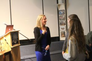 Lindsey Johnson talks with two Tamalpais High School students about her novel.