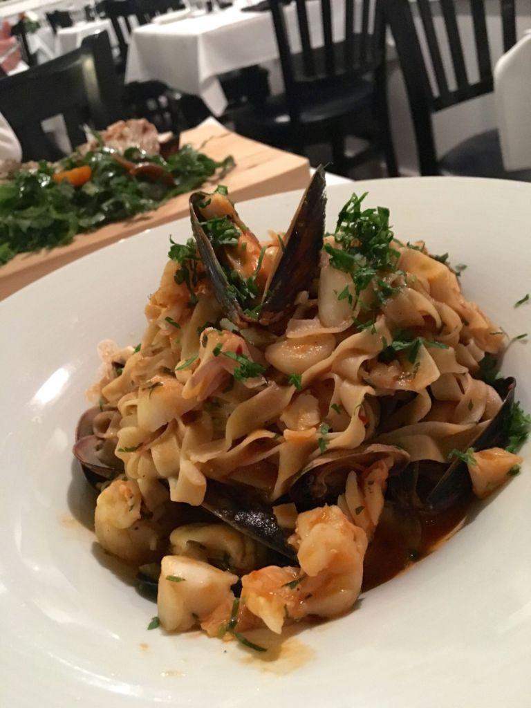 The menu has many lighter pastas such as the Tagliatella Al Pescatora