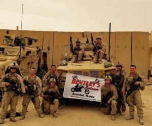 Mesker (fourth from the left) poses for a photo with his platoon while on tour in Iraq.