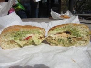 The combination of pesto and aioli sauce gives the pesto chicken panini a unique, Mediterranean taste.