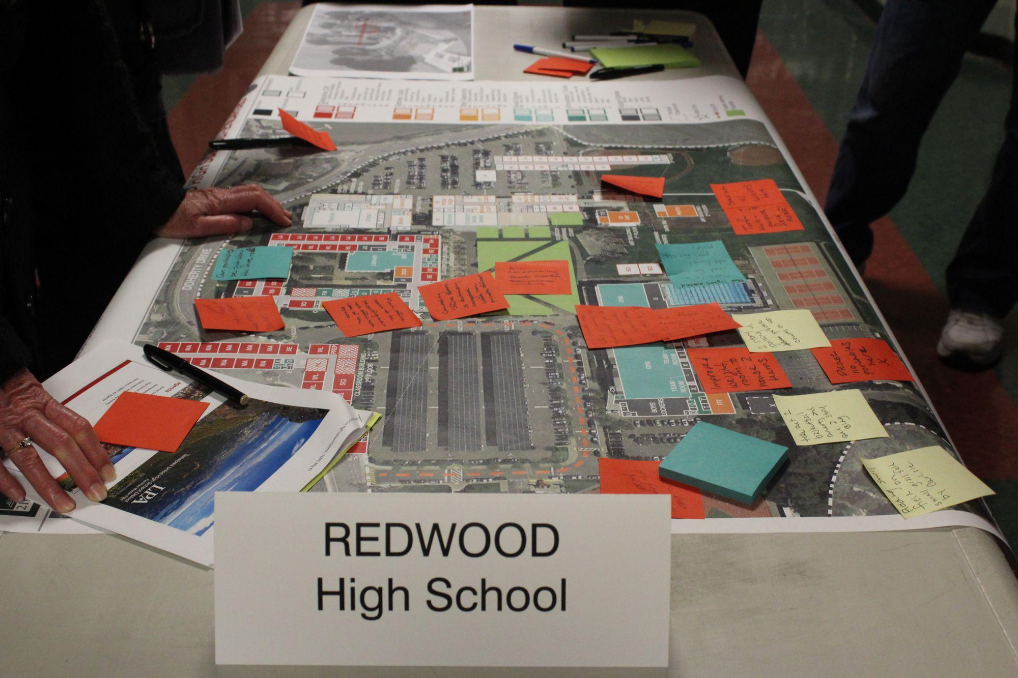 Covered in sticky notes, these plans showed critiques from community members on the current layout on campus.