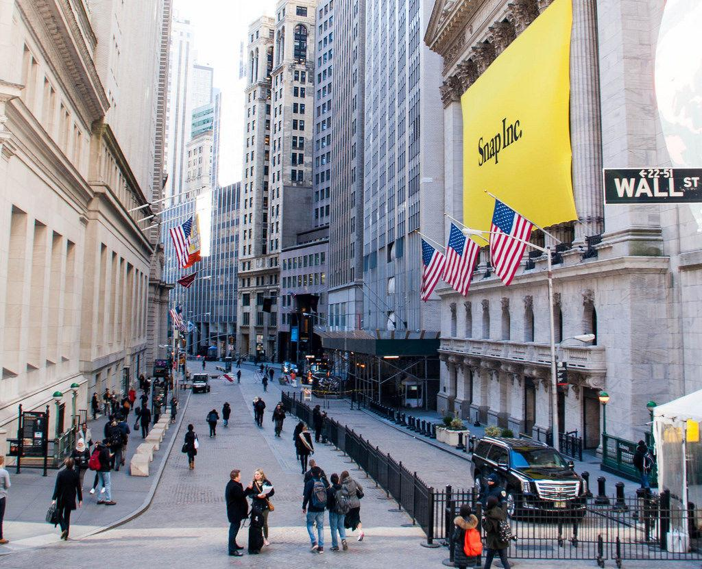HANGING ABOVE the New York Stock Exchange SNAP Inc. prepares for its IPO.