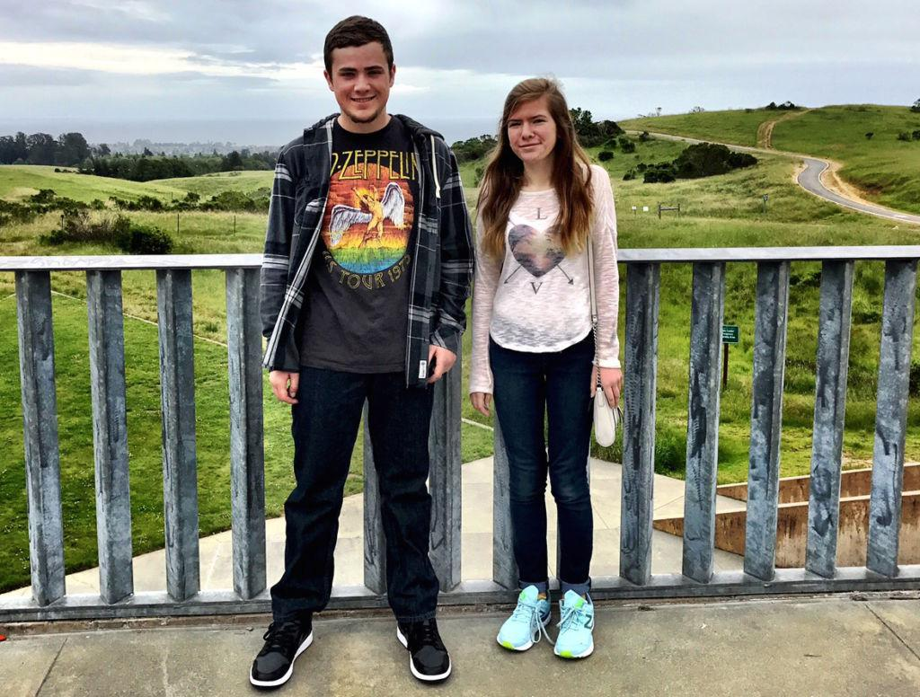 Max and Olivia Raskin visiting UC Santa Cruz.