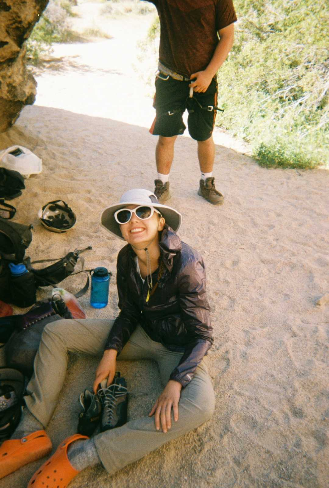 Taking a break from a long day of backpacking, Senior Anna Martin sits near Joshua Tree