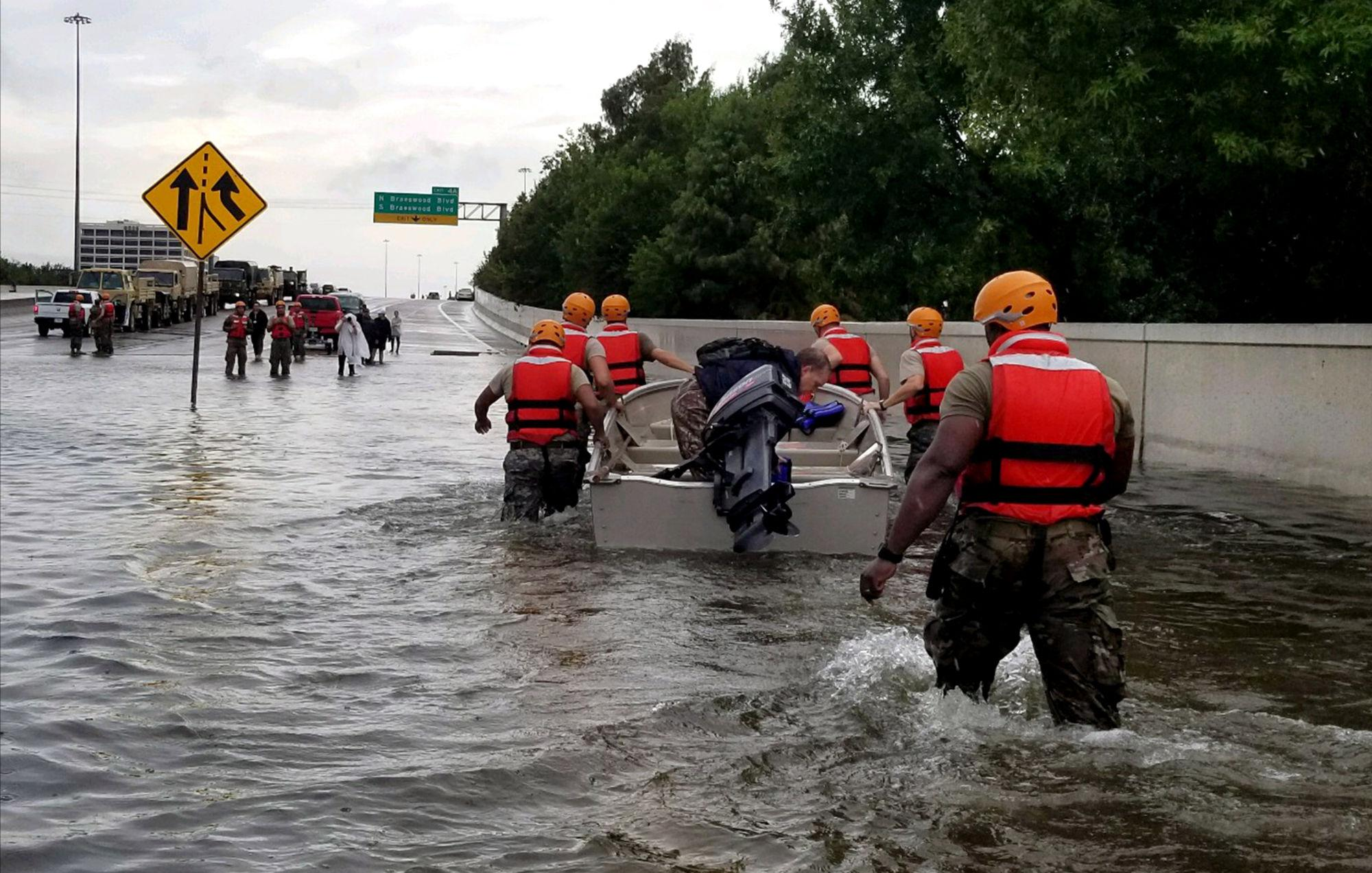 Rushing to help, members of the Texas National Guard have been sent in.