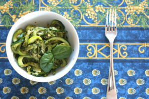 Garnished with fresh basil leaves, Fogarty and Duys have prepared a vegan zucchini pesto pasta.
