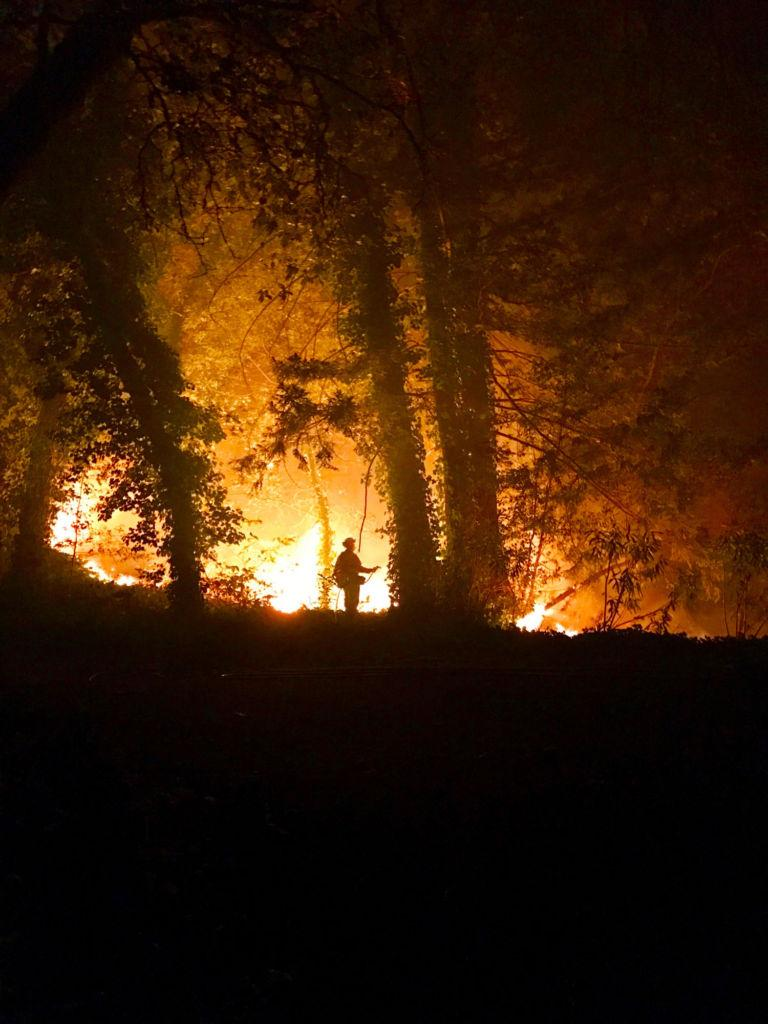 A firefighter battles a raging fire in Northern California.