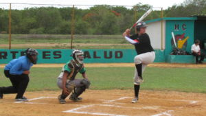 Preparing to swing, Junior Jackson Barry stands at the plate