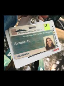 Marin General Hospital volunteer Avrelle Harrington's badge ID card.