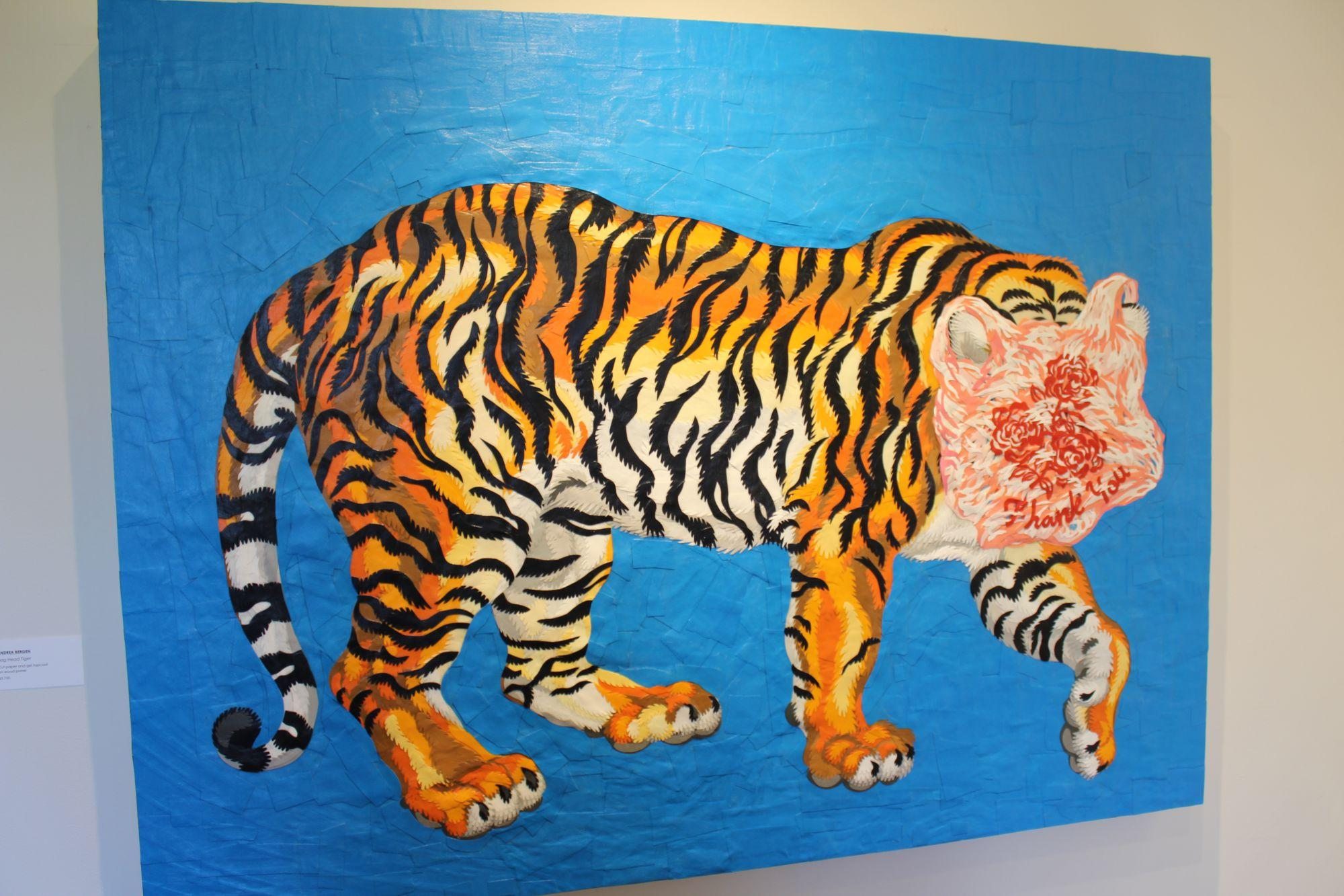 Andrea+Bergen%E2%80%99s+%E2%80%9CBag+Head+Tiger%E2%80%9D+is+made+of+cut+paper+and+gel+topcoat+on+wood+panel