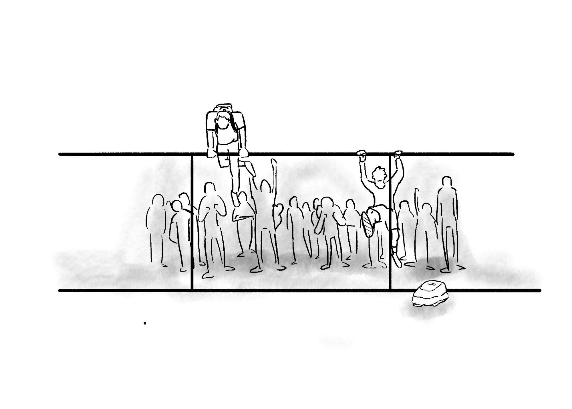 Illustration by Lucas Marchi of students hopping the fence during the bomb threat