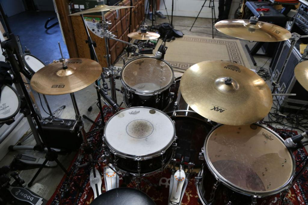 Bird's eye view of Russell Camden's drum-set.
