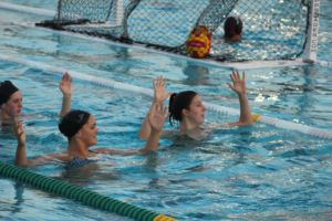 Senior co-captains Caitlin Donnelly (left) and Ashley Lamar (right) lead warm ups in practice.