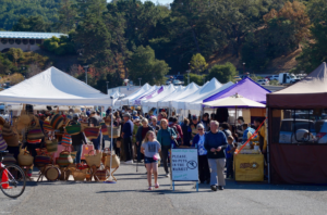 Marin Civic Center farmer's market offers several tents with a variety of products.