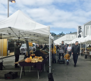 Marin Country Mart hosts small farmers market behind the mall.
