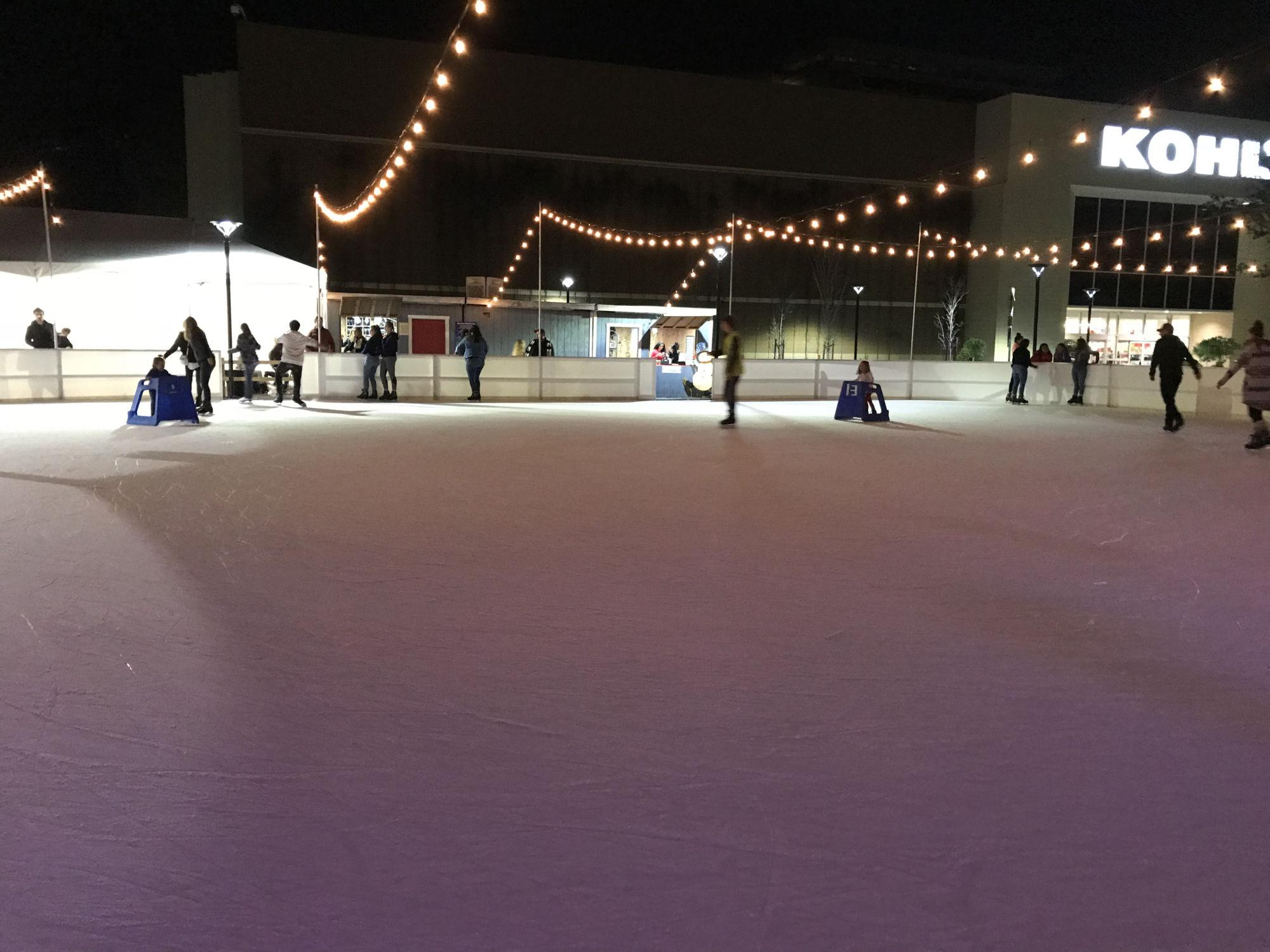 The nearly empty rink provided lots of room for skaters.