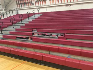 The resulting damage from Tuesday night's boys' varsity basketball game against Tam.