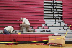 Reparations to the bleachers are underway as of Thursday.