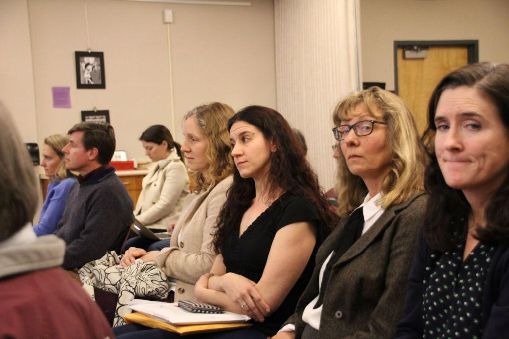 Attending a board meeting on Feb. 27, from left to right, TUHSD teachers Rebecca Kittredge, Eva Reider, Amei Papitto and Jessica Crabtree have spoken out regarding the administration's handling of sexual harassment allegations.