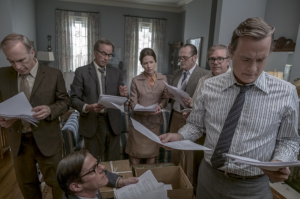 Trying to piece together the Pentagon Papers, editors gather in the Bradlee household.