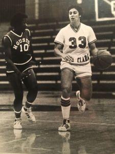 Dribbling the ball during a game, Caren Horstmeyer continued on to play Division I basketball at Santa Clara University.
