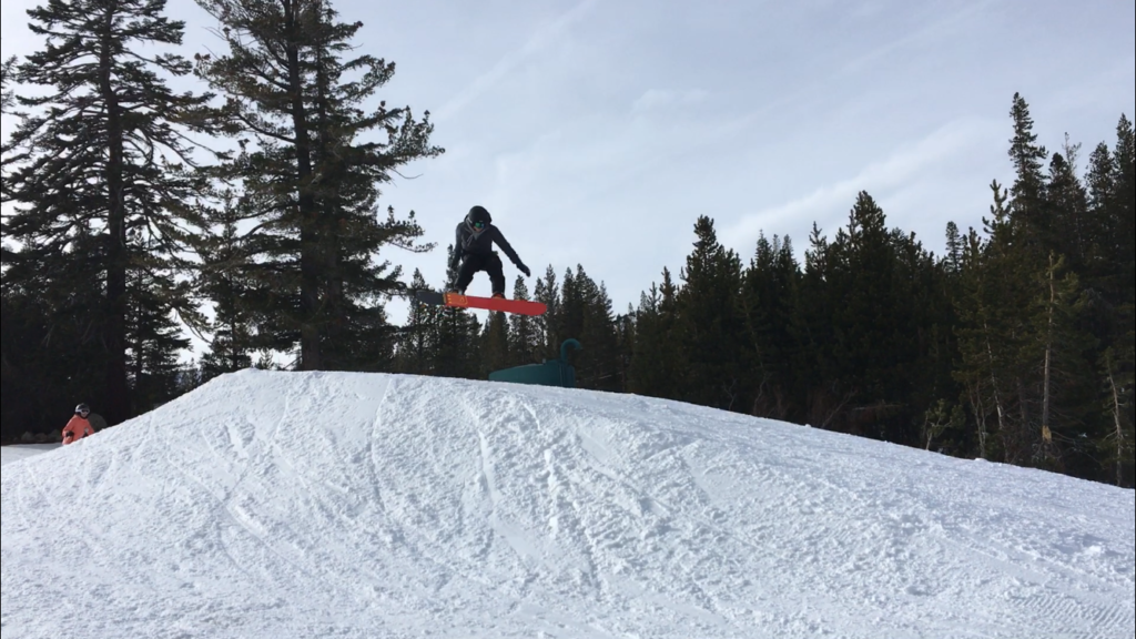 Junior Baylor Rembrandt gets air on a jump in Tahoe.