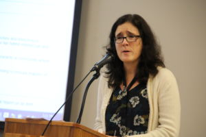 Speaking at the Jan. 23 TUHSD board meeting, Jessica Crabtree about past sexual harassment.