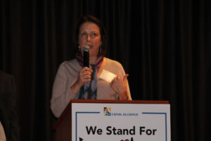 Before community members began a candlelight walk, Sarah Matson, executive director of Canal Alliance spoke about celebrating diversity.
