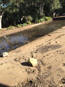 Karmens pool and backyard is piled with mud.