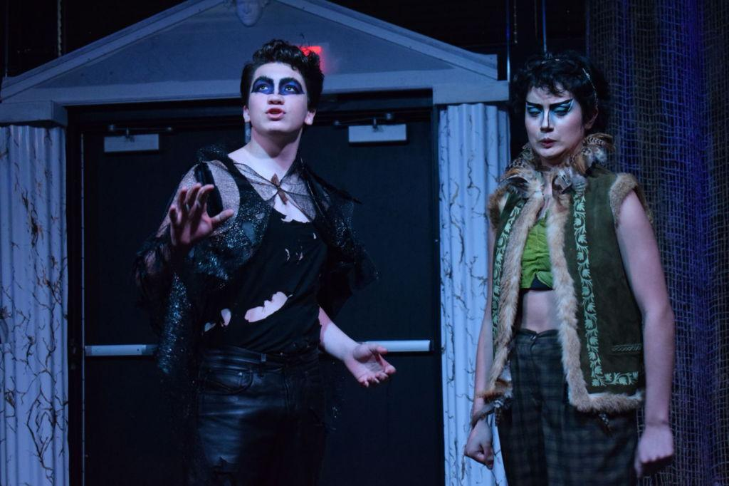 Oberon (left, Theo Wood) explains how to find the flower to Puck (right, Claire Champommier).