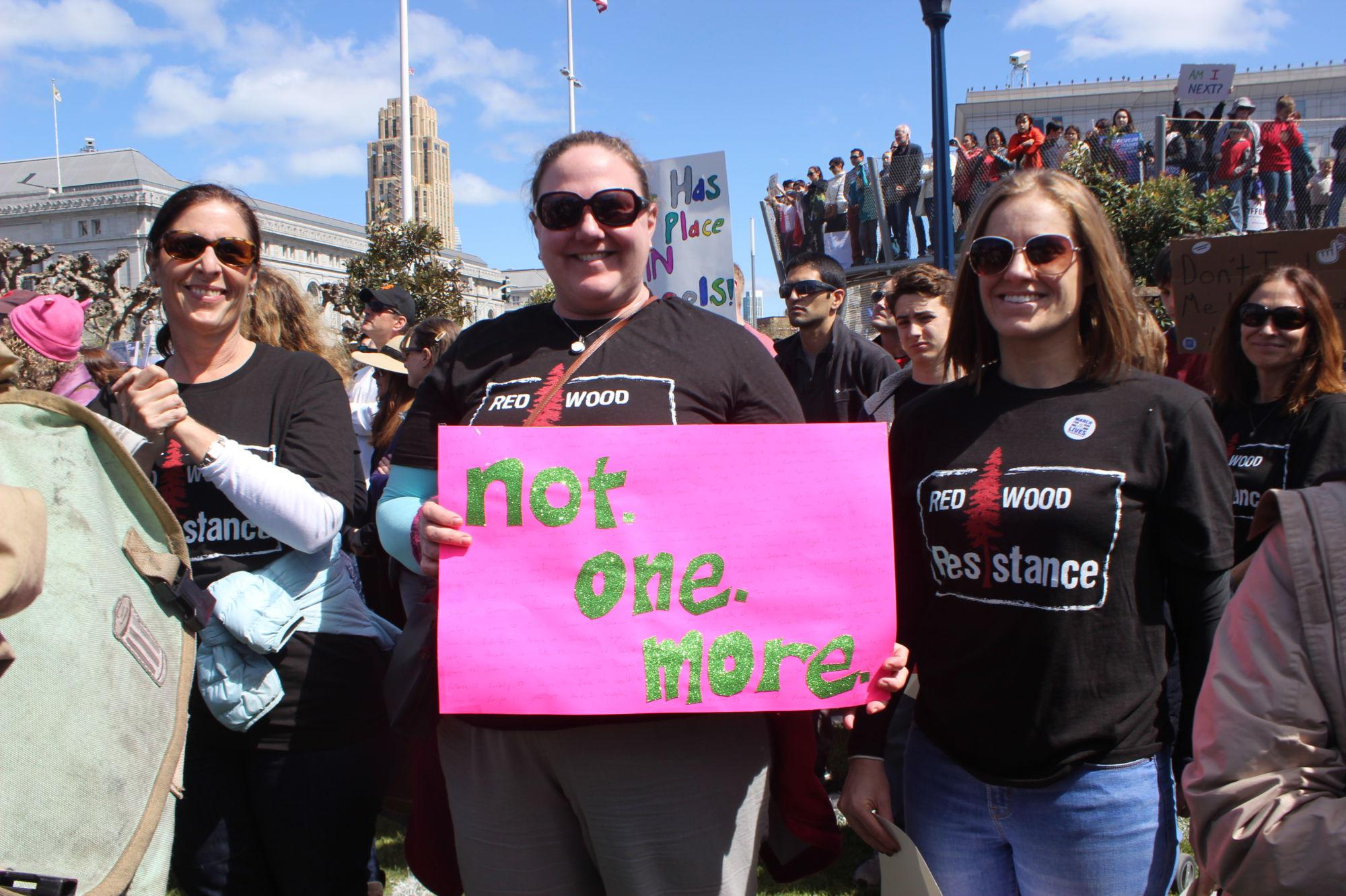 Teachers+Melissa+Boles+and+Amy+Mastromonaco+wear+shirts+that+say+%E2%80%9CRedwood+Resistance%E2%80%9D+at+March+for+Our+Lives+rally