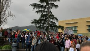 Hundreds of students crowded around the amphitheater during the