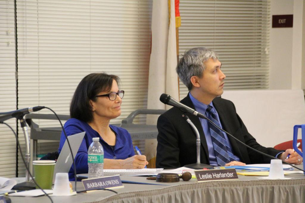 Board+President+Leslie+Harlander+and+District+Superintendent+David+Yoshihara+listen+to+public+comments+at+the+last+board+meeting.