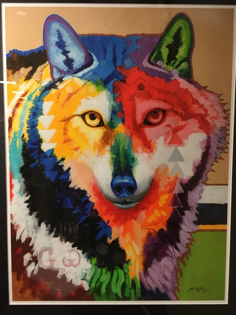John+Balloue%E2%80%99s+%E2%80%9CWa+Ya+Grande%E2%80%9D+original+painting.+The+depiction+of+a+wolf+represents+Balloue%E2%80%99s+roots+in+Oklahoma%E2%80%99s+Cherokee+Wolf+Clan.+Little+symbols+embedded+in+the+wolf%E2%80%99s+fur+are+tributes+to+the+Wolf+Clan%E2%80%99s+culture.