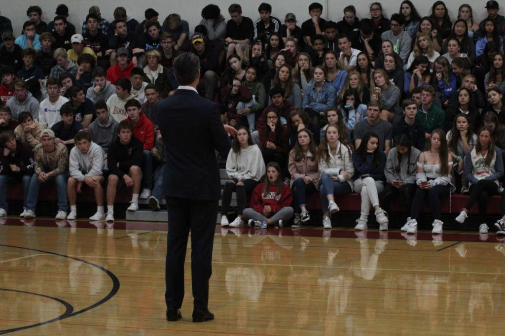 Newsom+addresses+the+sophomore+side+of+the+bleachers+during+one+of+his+speeches.