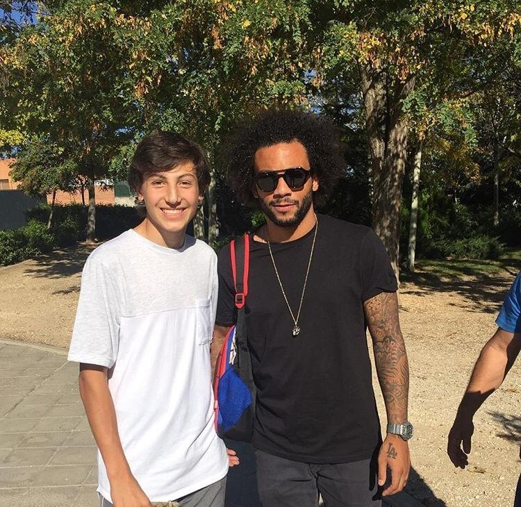 Sophomore Will Gerstein poses with professional soccer player, Marcelo, at his school in Madrid, Spain. Marcelo plays for Real Madrid in the Spanish La Liga.