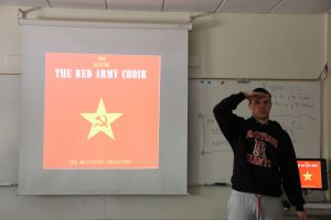Junior Adam Barker proudly listens to the Red Army Choir.