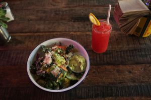 The Little Gem salad with Green Goddess Dressing, along with the Watermelon Basil Agua Fresca.