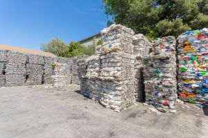 Marin Sanitary Service has accumulated quite the assortment of recyclable material, from cans to plastic bags.